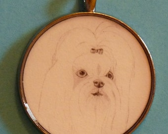 Maltese Original Pencil Drawing Pendant with Organza Pouch -Choice of Necklaces -Free Shipping- Desert Impressions