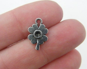 16 Four leaf clover charms antique silver tone L47