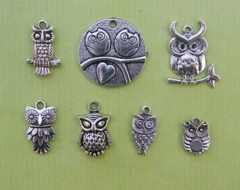 The Owl Charm Collection - 7 different antique silver tone charms