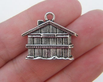 BULK 10 House charms antique silver tone P57