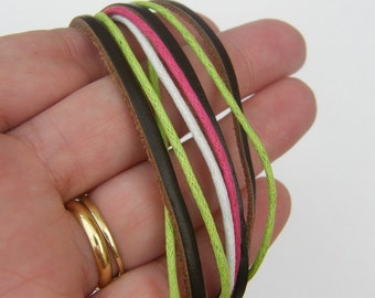 2 Brown leather and waxed cord bracelet 19.5cm NB14