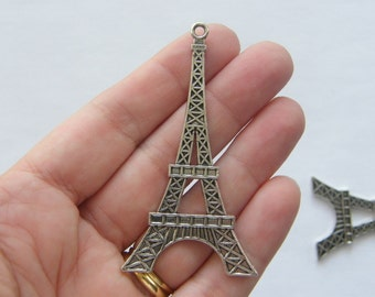 BULK 10 Eiffel tower pendants antique silver tone WT37