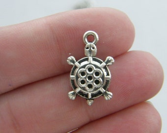 10 Turtle charms antique silver tone FF92