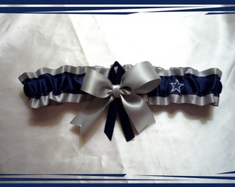 Silver Satin Ribbon Wedding Garter Toss Made with Cowboys Fabric