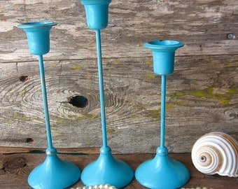 Rustic Chippy Teal Brass Candle Holders- Set of Three