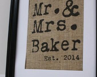Free US Shipping...Personalized Vintage Type Mr. & Mrs. Burlap Print - Engagements, Weddings, Anniversaries