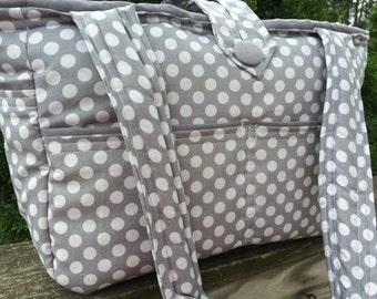 Large Bag- Diaper Bag- Work Bag- School Bag- Travel Bag, grey polka dots and grey interior