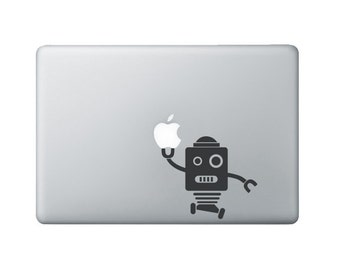 Robot 2 Macbook Decal - Laptop decal - Robot holding apple