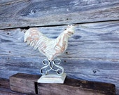 Rooster Chicken Wood Painted with Annie Sloan Chalk Paint Old White