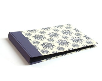 Heirloom Wedding Album blue on ivory Damask pattern