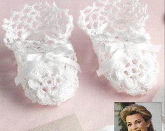 Crochet Pattern Exquisite Baby Infant Heirloom Christening Booties- Irish Rose Crochet Booties in  No 10 thread