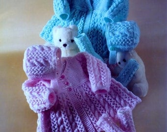 Baby Knitting Pattern  - Matinee Jackets Bonnet & Socks 2 styles - PREM sizes  14-18ins