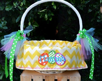 Personalized lined Easter Basket liners for Girls with or without Easter Eggs design