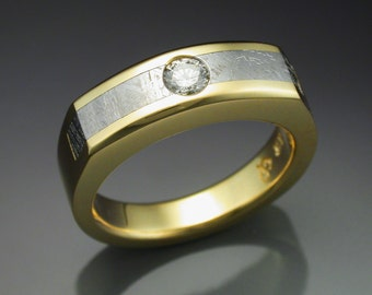 18k Gold woman's ring with Meteorite and Diamond