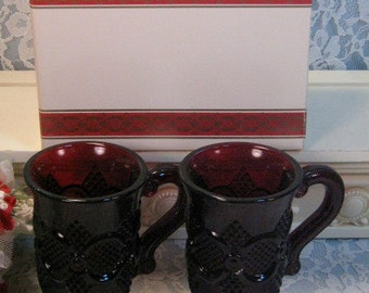 Vintage Avon 1876 Cape Cod Ruby Red Footed Pedestal Coffee Mugs Set of Two in Box, 1980s Mid Century Glass, Christmas Dinnerware, Kitchen