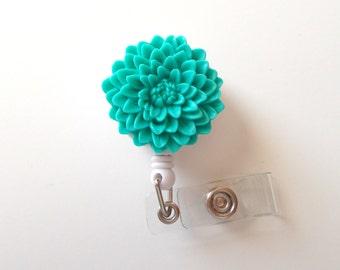 Aqua Chrysanthemum Flower  - Name Badge Holder - Retractable ID Badge Reel  - Nurse ID Badge Clip - Flower Badge Holder