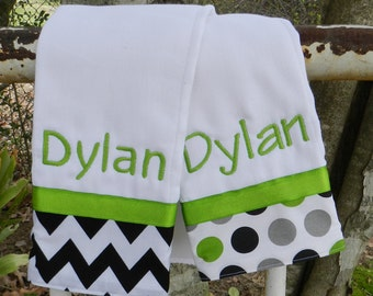 Personalized monogram boy burp cloth set, baby shower gift, boy baby gift, new baby gift