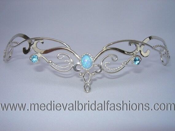 RESERVED Blue Fire Circlet Bridal Tiara Silver by ElnaraNiall