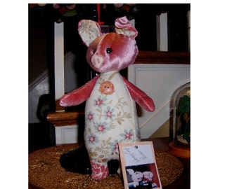 Artist vintage style piggy toy, 12inch, velvet and cotton, shoe button eyes, One of kind Pink Piggy