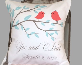 Cotton Anniversary Gift wedding gift red love birds pillow cover