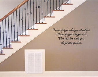 Vinyl wall quotes decals #1098 Never forget what you stand for...