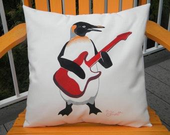 "Outdoor pillow 20""x20"" (50cm) PENGUIN PLAYING GUITAR rock n roll music Kitsap County metal band weatherproof Crabby Chris Original"