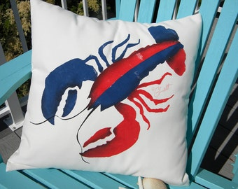 """Outdoor pillow PATRIOTIC LOBSTER red white and blue 20"""" born in the USA crustacean claws born this way Crabby Chris Original"""