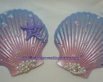 Custom Bejeweled Mermaid Seashell Bra MADE TO ORDER