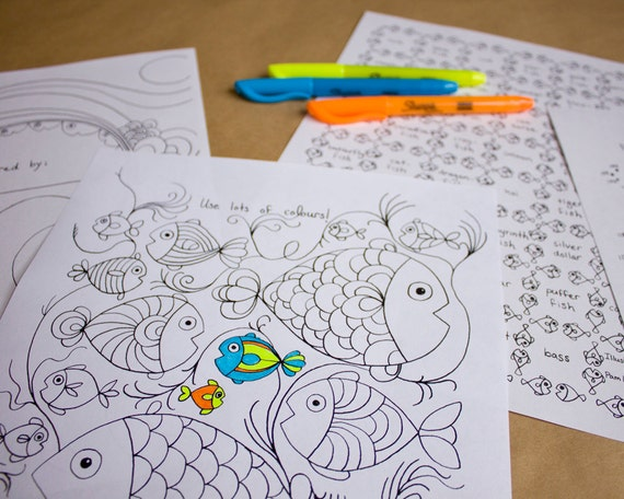 Fish Colouring Pages and Activities (Digital pdf)