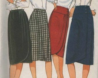 Misses Front Wrap Skirt  Style Sewing Pattern 4001