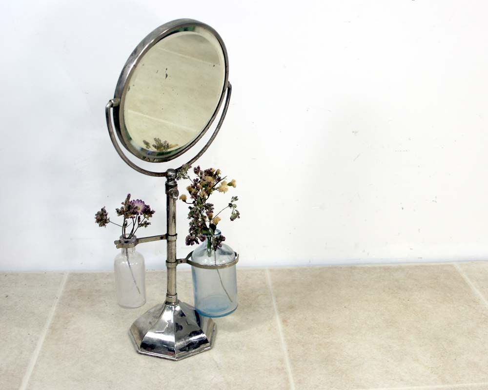 Vintage Shaving Mirror Beveled Mirror On Stand