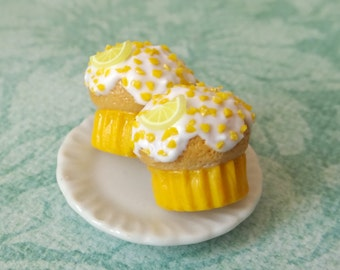 Lemon cupcake post earrings