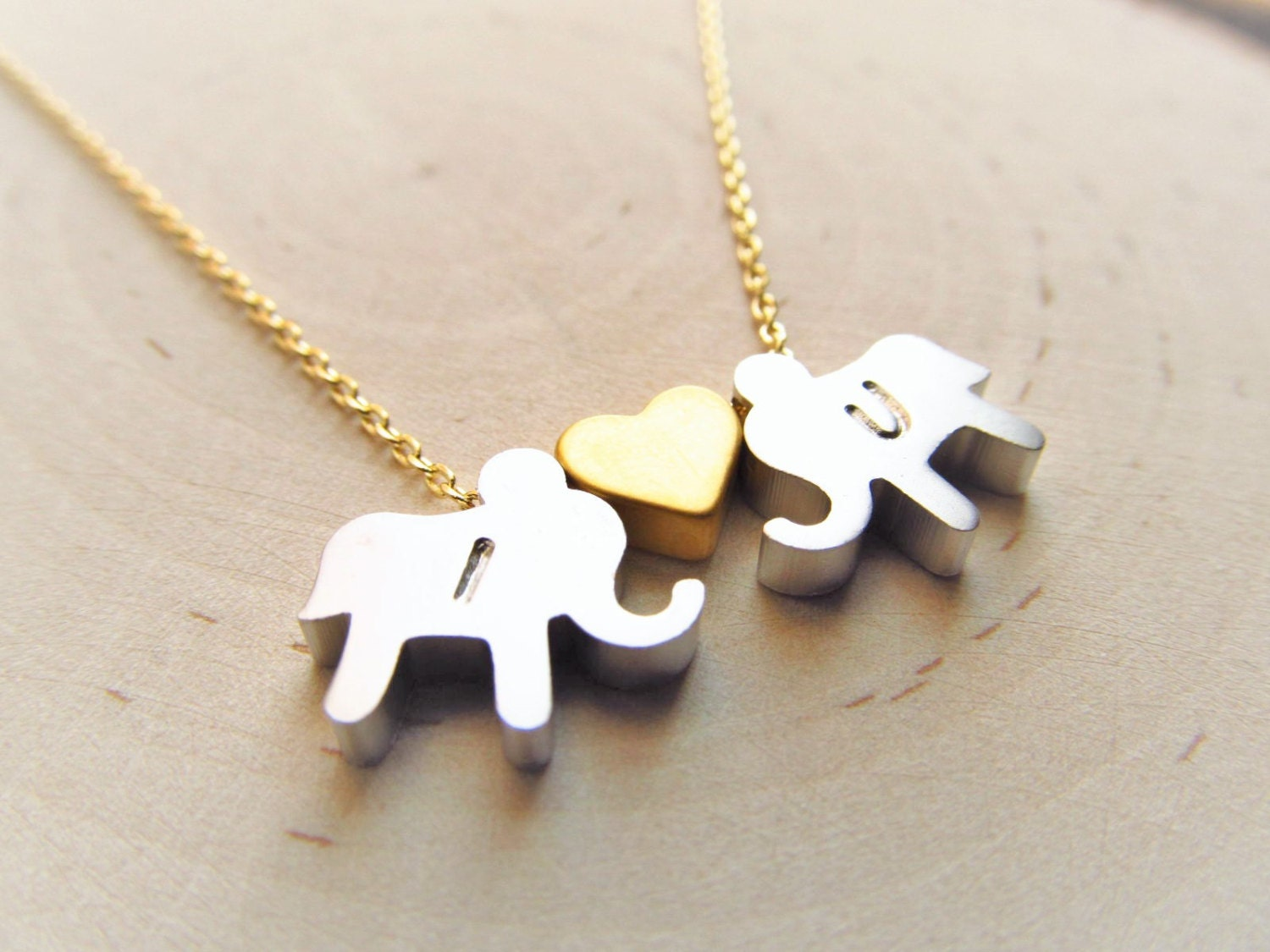 personalized elephant necklace with heart couples jewelry