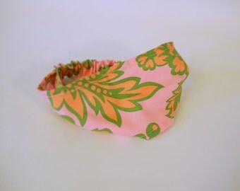 Pink Floral Mod Elastic Headband. Choose A Size Headband. Infant, Toddler, & Child sizes.