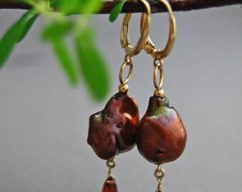 Alaulia - OOAK baroque nucleated pearl earrings with garnet gemstone dangles, unique, gift idea for her, dangle earrings, woman, lever backs