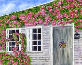 Original Painting Watercolor-Rose Covered SeaShore Cottage-Summer Vacation Time- Ocean-Nantucket- Maine-Cape Cod