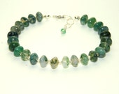 Moss Agate Bracelet - Green Beaded Bracelet - Gemstone Bracelet - Natural Stone Jewelry