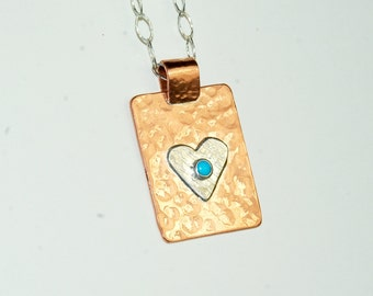 Mixed Metal Necklace - Heart Pendant - Turquoise - Copper and Sterling Silver - Southwestern Jewelry - Mothers Day Gift