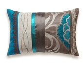 RESERVED for Joann Perrine Teal Blue Brown Beige Lumbar Pillow Case 12 x 18 in IRMA DESIGN