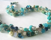 BEACH BRIDE Destination Wedding, Bridesmaids, Semi- precious, Crystals, Hand Knit, Blue Green Teal CARIBBEAN Ocean  Sea Hand Knit Necklace