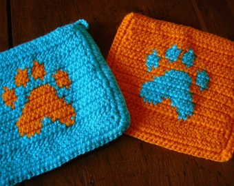 Two Paw Print Potholders - Orange and Blue Pawprint Pot Holders - Gift for Dog, Pet Owner - Crochet, Crocheted Animal Hot Pads