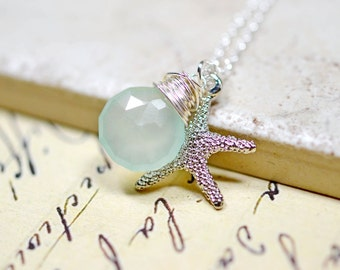 Mint Starfish Necklace / Seafoam and Silver Beach Jewelry / Aqua Chalcedony, Wire Wrap Gemstone, Star Fish Charm