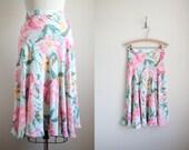Tropical Floral Print Flouncy Skirt - High Waist Skirt - Bias Cut Skirt - Pastel Floral Print - Vintage Midi Skirt