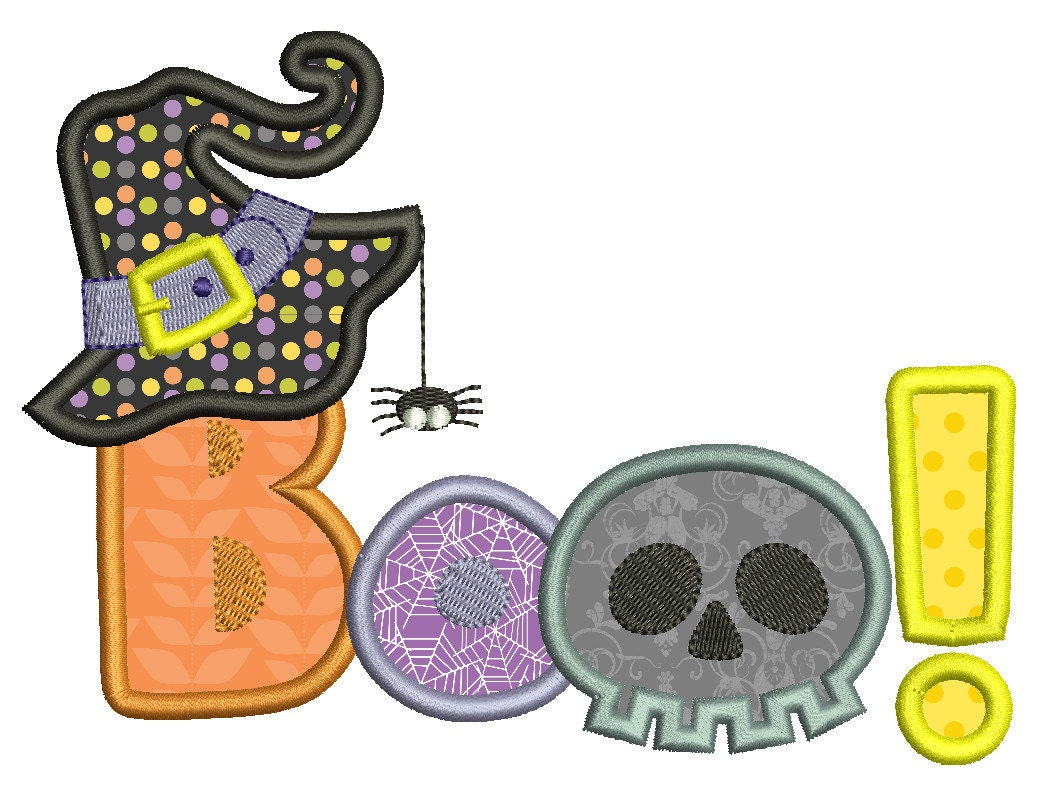 Halloween applique embroidery design boo by