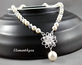 Bridal necklace Swarovski white ivory pearls Daisy Crystal Flower Jewelry Bridesmaid gift Maid of honor Wedding Crystal Y necklace Pink
