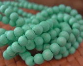 6 or 8 or 12 mm Round Wood Beads, Seafoam Color, 15inch Strand