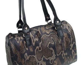 Handbag Doctor Bag Satchel Style  Animal Print  SNAKE  Pattern US Handmade  HandBag Purse, New, Rare