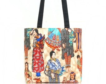 USA Handmade Handbag Shoulder Bag With, International Woman Pattern Cotton Fabric, New, Rare
