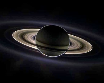 Weird Space Photo Saturn Eclipse Rings Backlit by Sun Behind Planet NASA Space Age Science Art Saturn's Rings Astronomy Photography Print