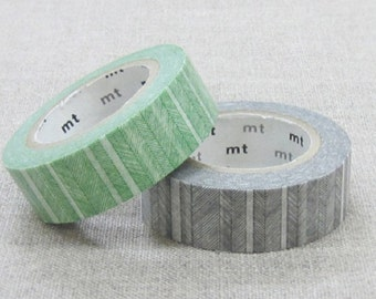 MT 2014 A/W - Japanese Washi Masking Tape / Green or Black Hand Drawn Lines for scrapbooking, packaging, party deco, card making